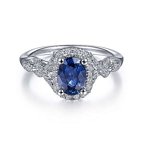 14K White Gold Oval Cut Sapphire Diamond Halo Ring