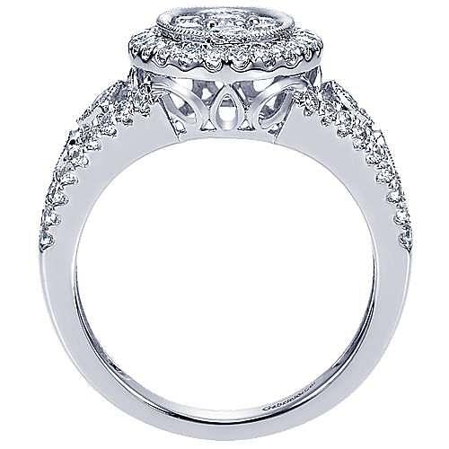 14K White Gold Oval Diamond Cluster Split Shank Ring