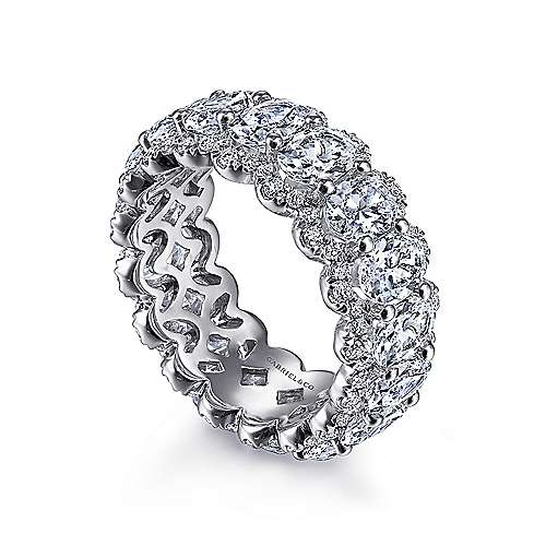 14K White Gold Oval Diamond Halo Eternity Band