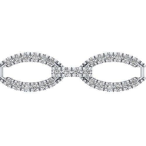 14K White Gold Oval Diamond Link Tennis Bracelet