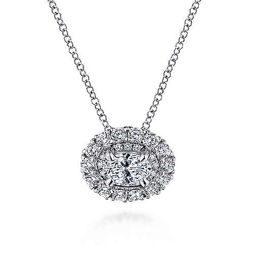 14K White Gold Oval Diamond Pendant Necklace