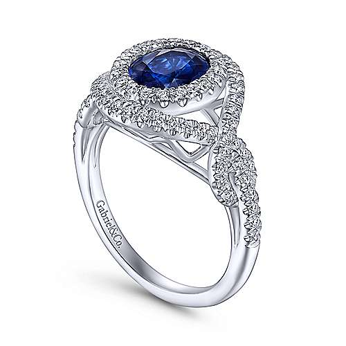 14K White Gold Oval Double Halo Sapphire and Diamond Engagement Ring
