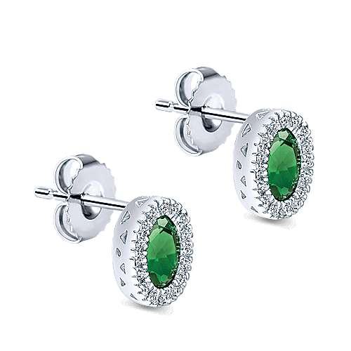 14K White Gold Oval Emerald and Diamond Halo Stud Earrings