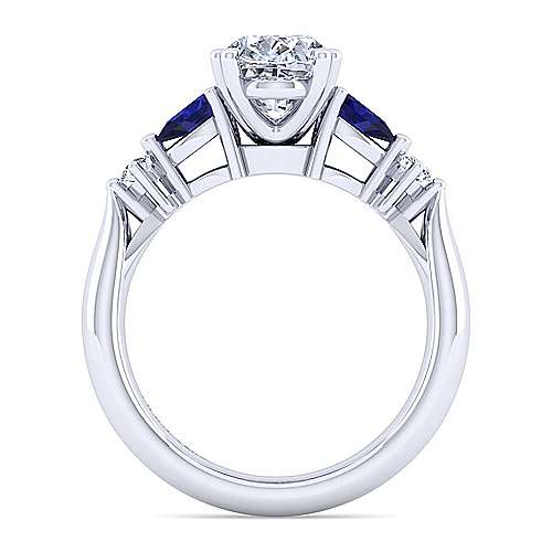 14K White Gold Oval Five Stone Sapphire and Diamond Engagement Ring