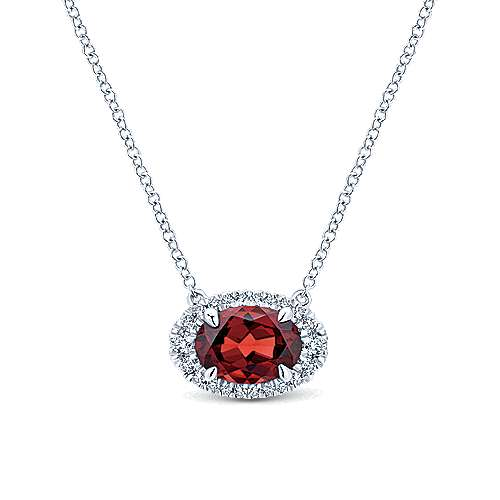 14K White Gold Oval Garnet and Diamond Halo Pendant Necklace