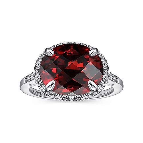 14K White Gold Oval Garnet and Diamond Halo Ring