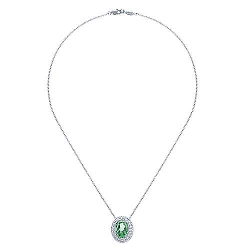 14K White Gold Oval Green Amethyst and Diamond Halo Pendant Necklace