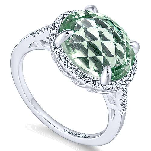 14K White Gold Oval Green Amethyst and Diamond Halo Ring