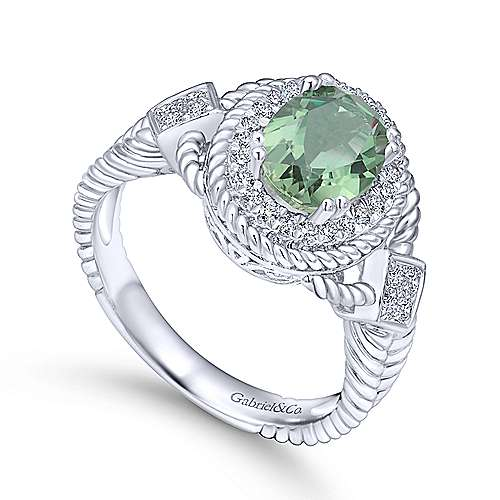14K White Gold Oval Green Amethyst with Diamond Halo and Twisted Rope Accents