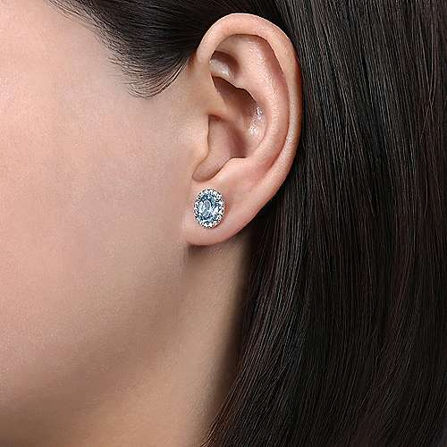 14K White Gold Oval Halo Aquamarine and Diamond Stud Earrings