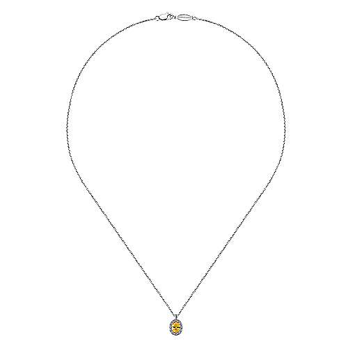 14K White Gold Oval Halo Citrine and Diamond Necklace