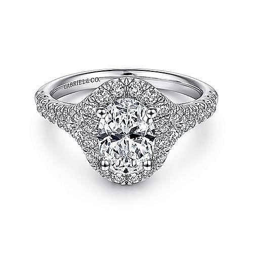 Gabriel - 14K White Gold Oval Halo Diamond Engagement Ring