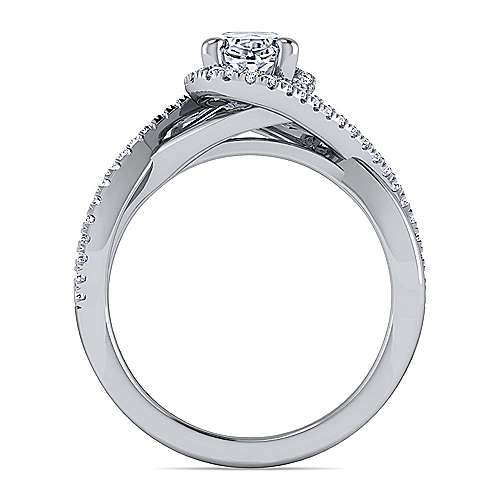 14K White Gold Oval Halo Diamond Engagement Ring