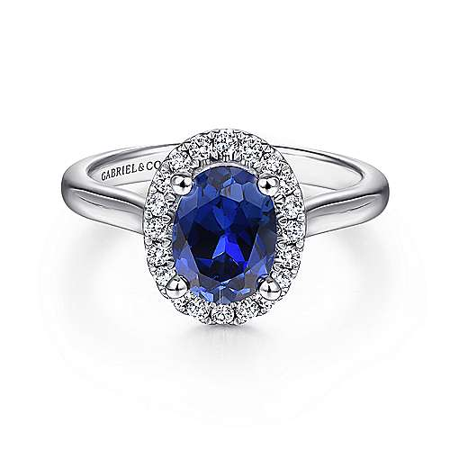 14K White Gold Oval Halo Sapphire and Diamond Engagement Ring
