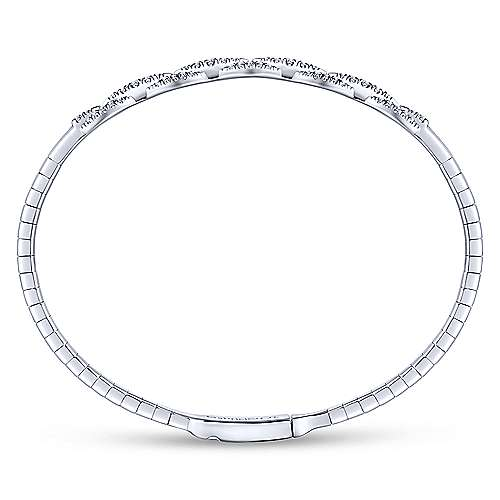 14K White Gold Oval Link Diamond Bangle