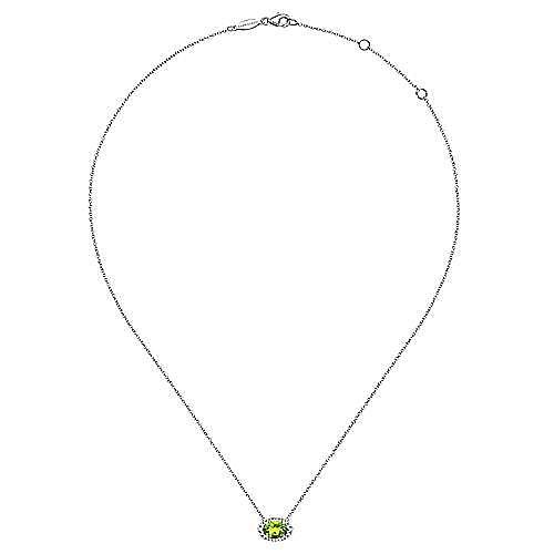14K White Gold Oval Peridot and Diamond Halo Pendant Necklace