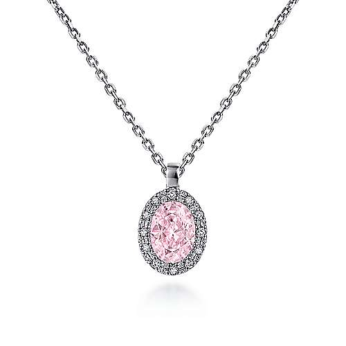 14K White Gold Oval Pink Created Zircon and Diamond Halo Pendant Necklace