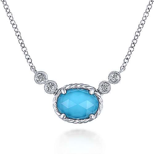 14K White Gold Oval Rock Crystal/Turquoise and Diamond Pendant Necklace