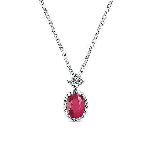 14K White Gold Oval Ruby Diamond Pendant Necklace
