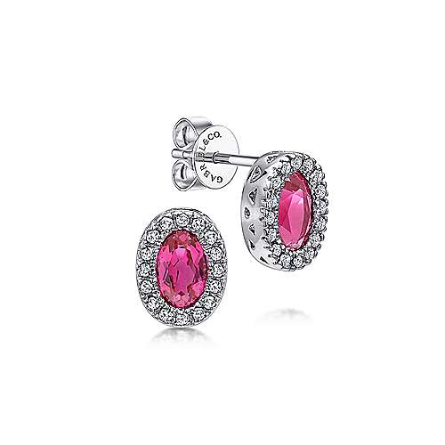 14K White Gold Oval Ruby and Diamond Halo Stud Earrings