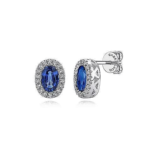 14K White Gold Oval Sapphire Diamond Halo Stud Earrings