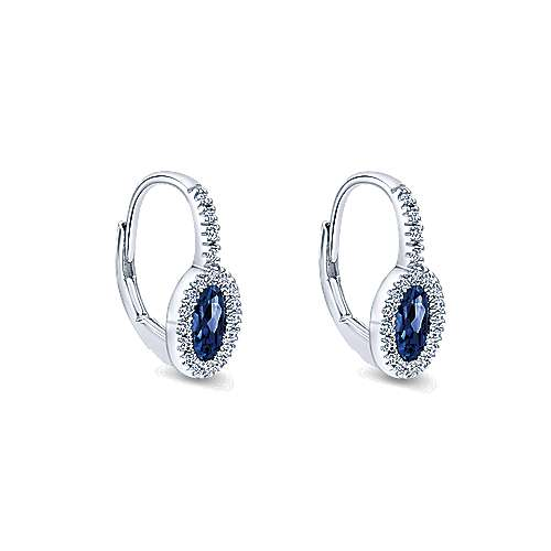 14K White Gold Oval Sapphire and Diamond Halo Leverback Earrings