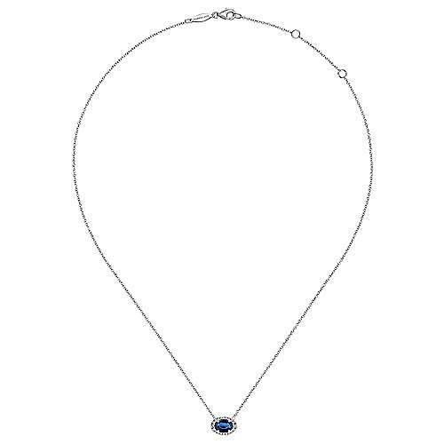 14K White Gold Oval Sapphire and Diamond Halo Pendant Necklace