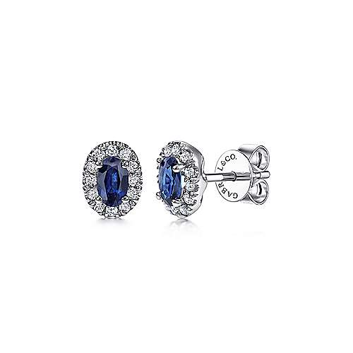 14K White Gold Oval Sapphire and Diamond Halo Stud Earrings