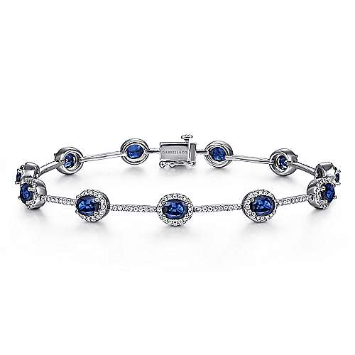 14K White Gold Oval Sapphire and Diamond Halo Tennis Bracelet