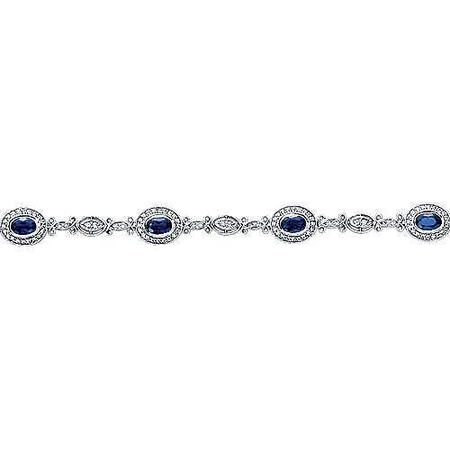14K White Gold Oval Sapphire and Diamond Halo Tennis Bracelet