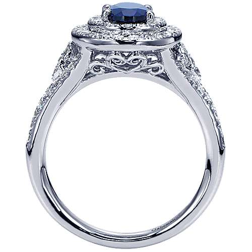 14K White Gold Oval Sapphire and Double Halo Diamond Ring