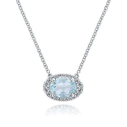 14K White Gold Oval Sky Blue Topaz and Diamond Halo Pendant Necklace