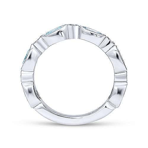 14K White Gold Oval Sky Blue Topaz and Diamond Station Ring