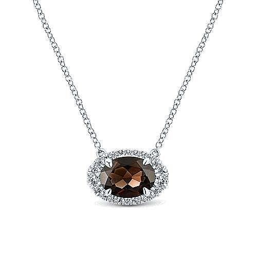 14K White Gold Oval Smoky Quartz and Diamond Halo Pendant Necklace