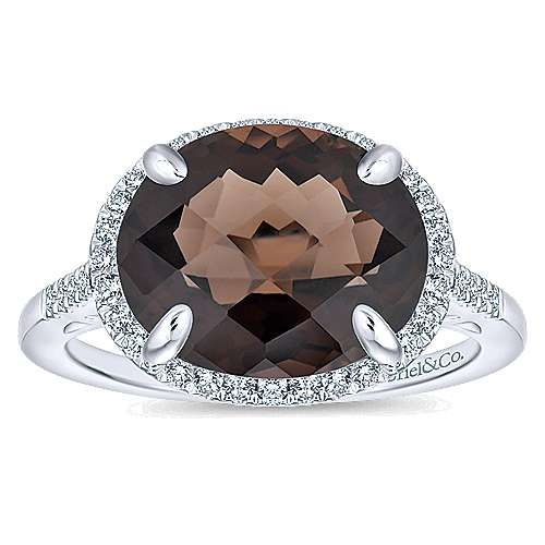 14K White Gold Oval Smoky Quartz and Diamond Halo Ring