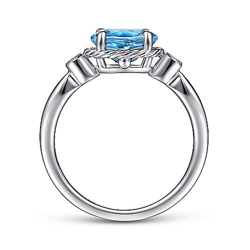 14K White Gold Oval Swiss Blue Topaz & Diamond Three Stone Ring