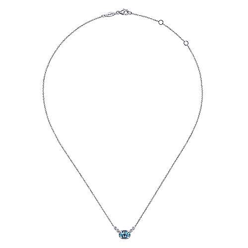 14K White Gold Oval Swiss Blue Topaz Pendant Necklace with Diamond Accents