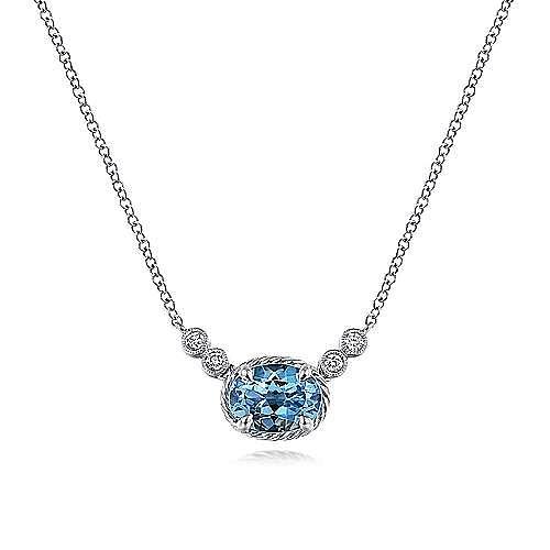 14K White Gold Oval Swiss Blue Topaz and Diamond Necklace