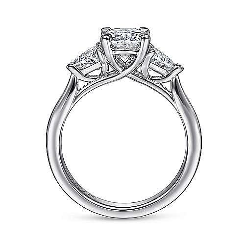 14K White Gold Oval Three Stone Diamond Engagement Ring