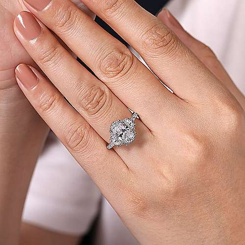 14K White Gold Oval Three Stone Halo Diamond Engagement Ring