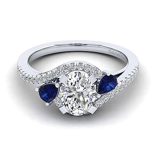 14K White Gold Oval Three Stone Sapphire and Diamond Engagement Ring