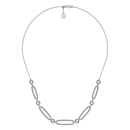 14K White Gold Oval and Hexagonal Diamond Link Necklace