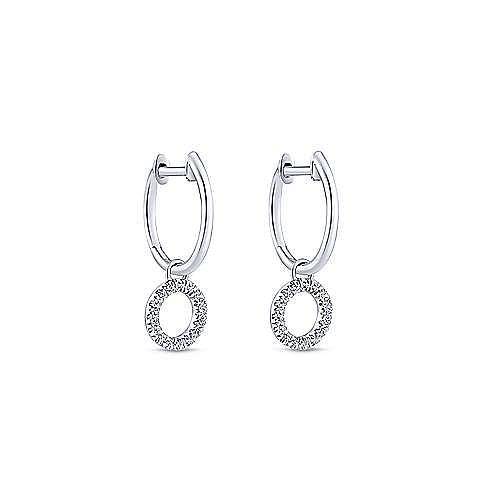 14K White Gold Pavé 10mm Diamond Loop Huggie Drop Earrings