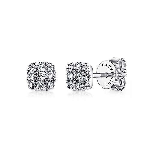 14K White Gold Pavé Diamond Cushion Cut Stud Earrings
