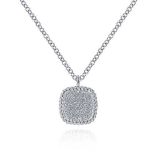 14K White Gold Pavé Diamond Cushion Shape Pendant Necklace