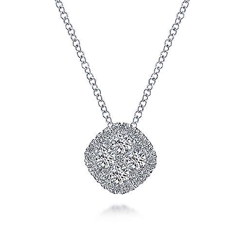 14K White Gold Pavé Diamond Cushion Shaped Pendant Necklace