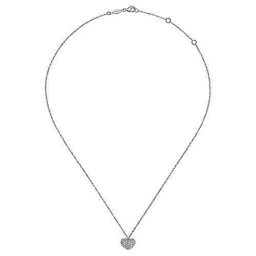 14K White Gold Pavé Diamond Encrusted Heart Necklace