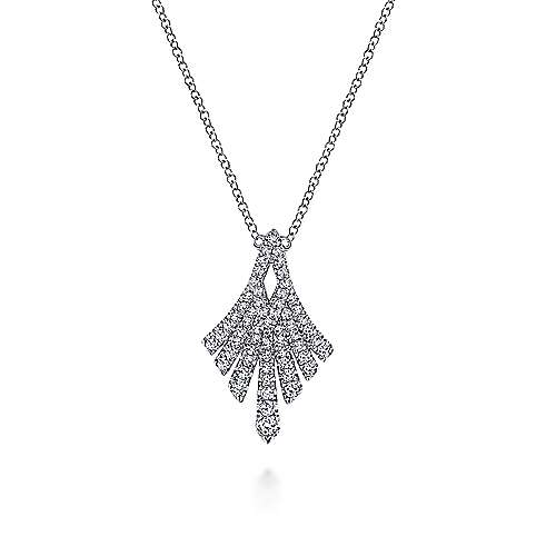 14K White Gold Pavé Diamond Fan Station Pendant Necklace