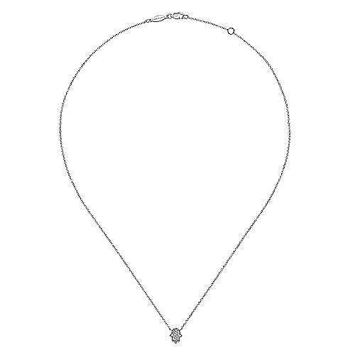 14K White Gold Pavé Diamond Hamsa Pendant Necklace