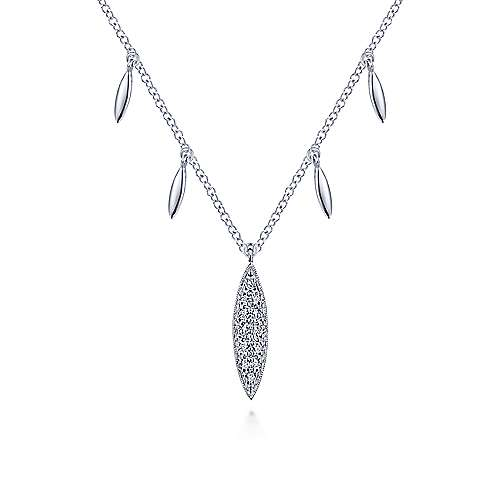 14K White Gold Pavé Diamond Marquise Pendant Necklace with Side Drops